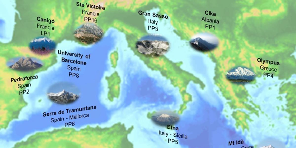 Carte du réseau des montagnes emblématiques méditerranéennes