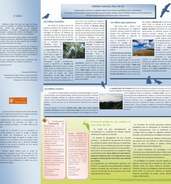 Dépliant sur les oiseaux du Canigó / SMCGS