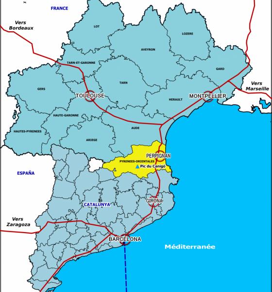 Localisation du massif du Canigó au sein de l'Euro-région Pyrénées Méditerranée / SMCGS